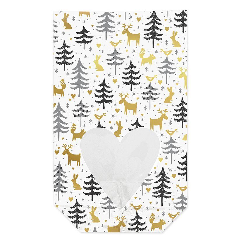 10 sachets confiseur avec clips amis de la forêt Noël 11,5 x 19 cm - Zischka