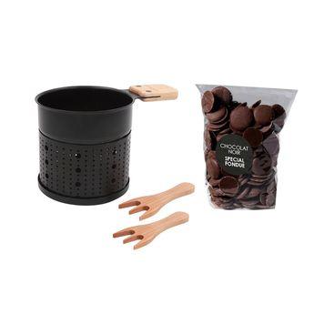 Achat en ligne Coffret fondue au chocolat à la bougie : appareil et 150 gr de chocolat noir - Cookut