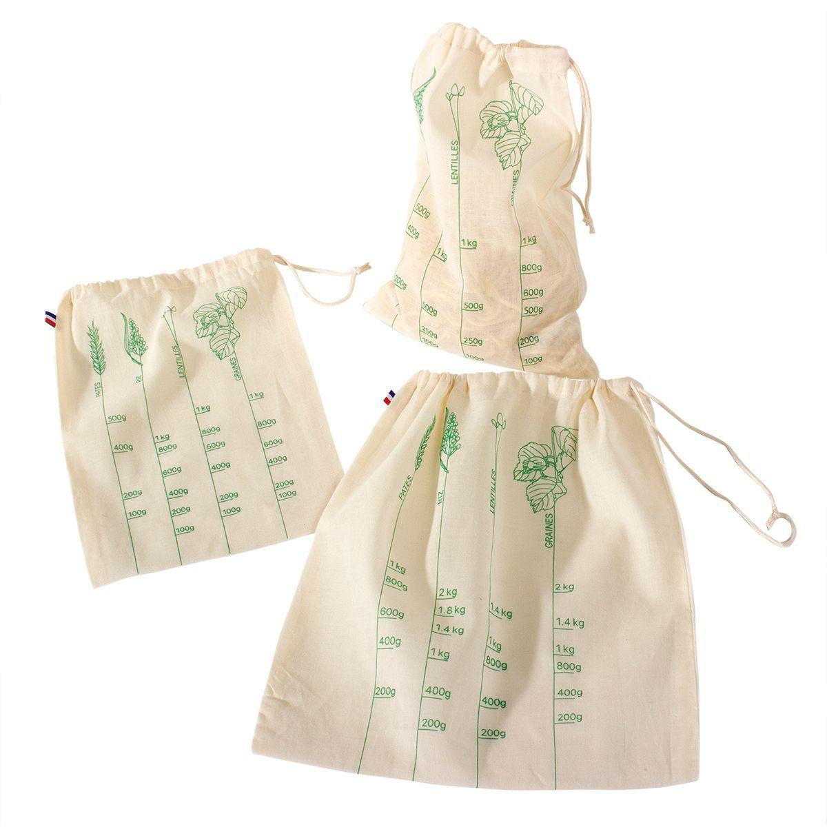 Lot de 3 sacs à vrac S/M/L en coton bio - Alice Delice