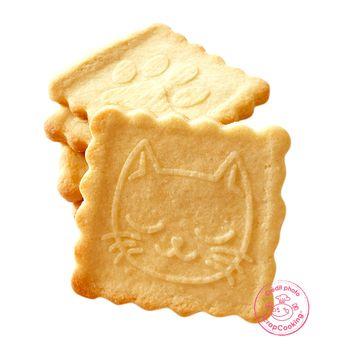 Achat en ligne Tampon en bois pour biscuit 5 motifs et emporte pièce motif chat - Scrapcooking
