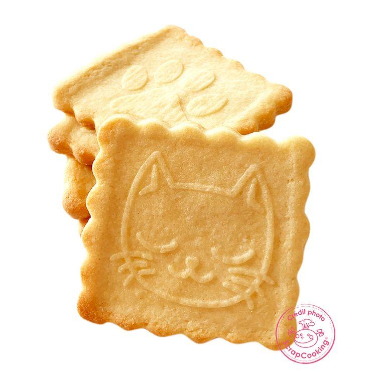 Tampon en bois pour biscuit 5 motifs et emporte pièce motif chat - Scrapcooking