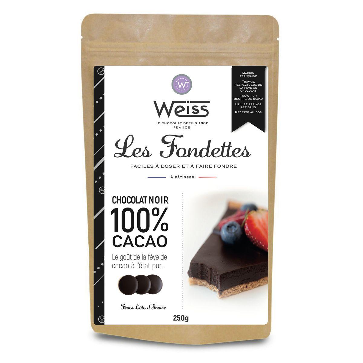Chocolat noir à pâtisser 100% Les Fondettes 250 gr - Weiss