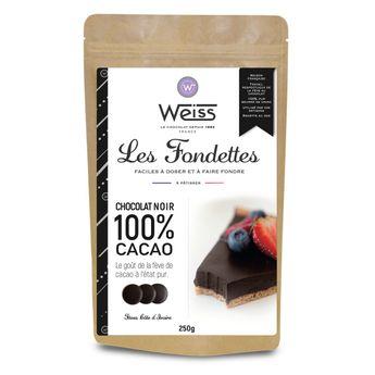 Achat en ligne Chocolat noir à pâtisser 100% Les Fondettes 250 gr - Weiss