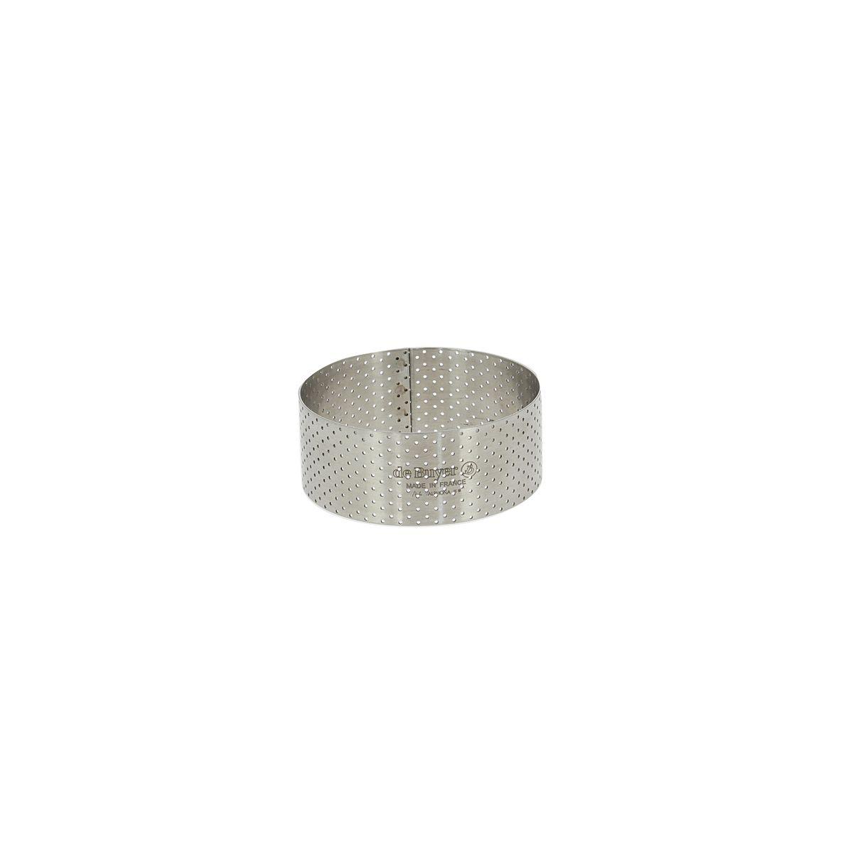 Cercle à tartelette haut en inox perforé 7,5 x 3,5 cm - De Buyer
