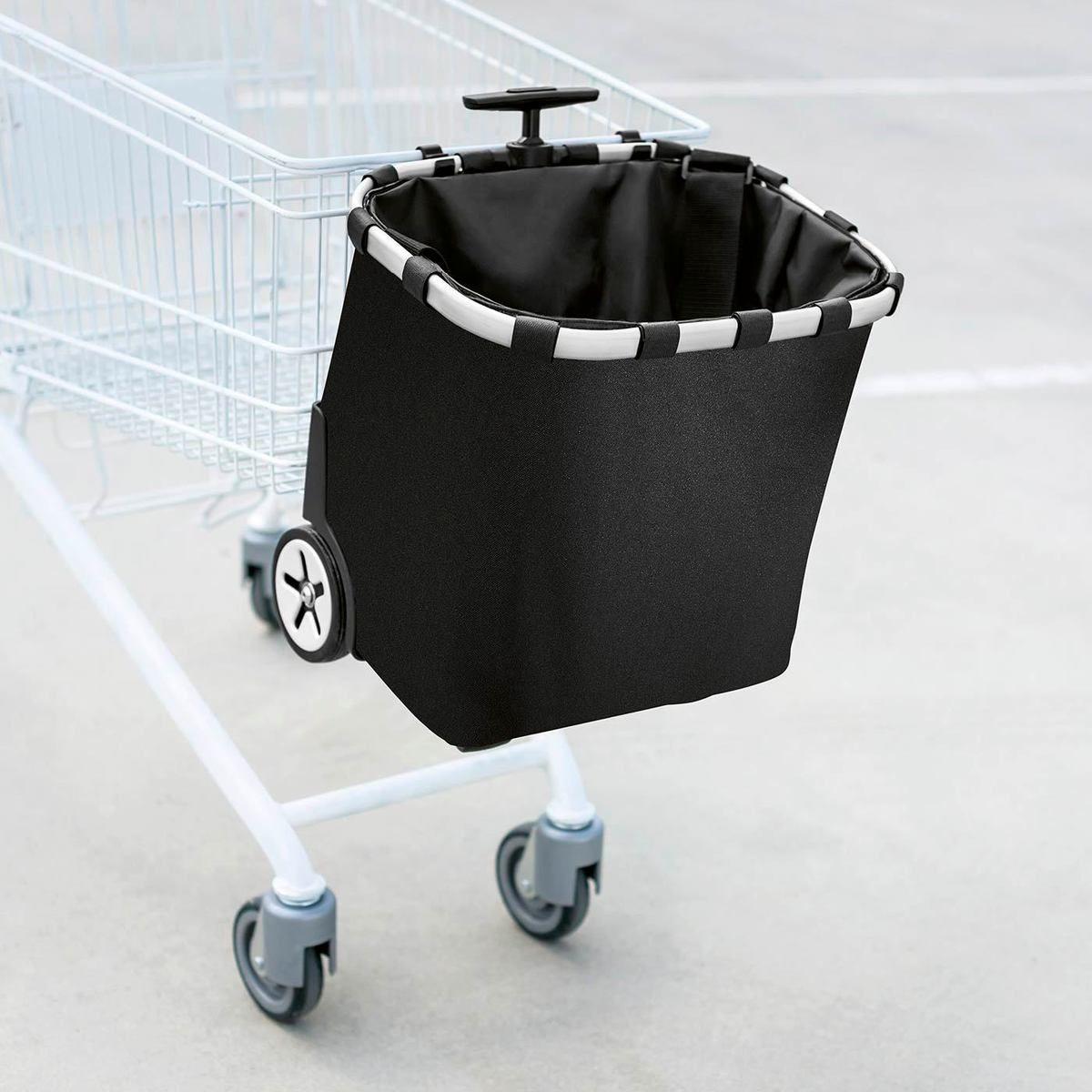 Cabas de course à roulettes fixation pour chariot et bretelle de transport noire - Reisenthel