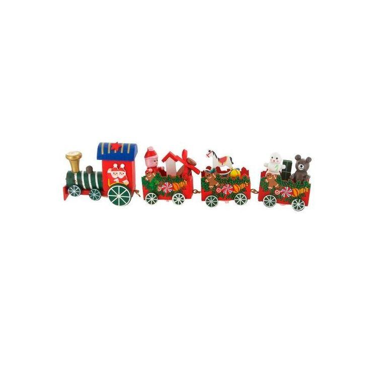 Décor de bûche et gâteau : petit train traditionnel de Noël sur piques 24 x 6,5 cm - Patisdecor