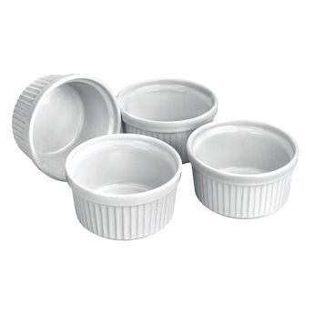 Achat en ligne Lot de 4 ramequins en céramique blanche diamètre 9 cm - Ibili