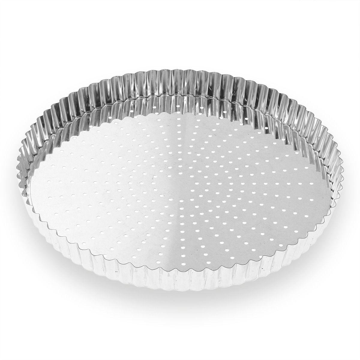 Moule à tarte perforé fond amovible en fer blanc 8/10 parts 28 cm - Alice Délice
