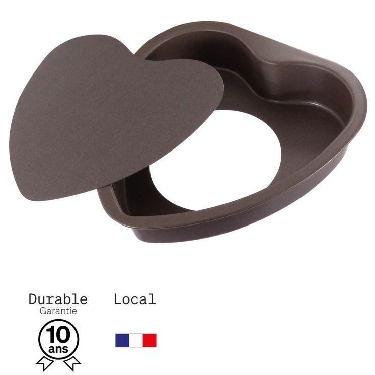 Moule à gateau coeur en métal anti adhérent avec fond amovible 4 parts 16 cm - Alice Délice