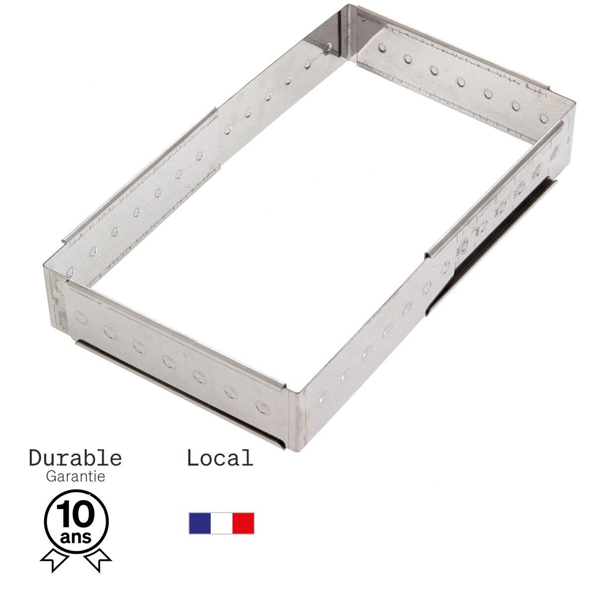 Cadre à pâtisserie extensible en inox de 16 à 28 cm, de 4 à 14 parts, hauteur 4.5 cm - Alice Délice