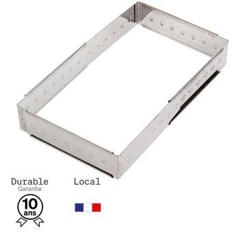 Achat en ligne Cadre à pâtisserie extensible en inox de 16 à 28 cm, de 4 à 14 parts, hauteur 4.5 cm - Alice Délice