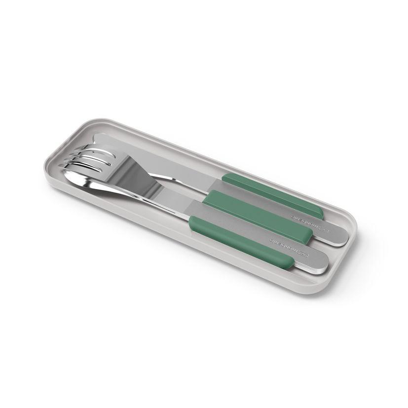 Couverts nomades : couteau fourchette et cuillère MB slim box vert - Monbento