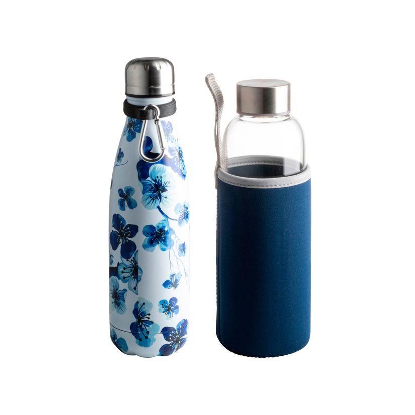Coffret Liberty bouteille bleue isotherme 500ml + bouteille eau - Zodio