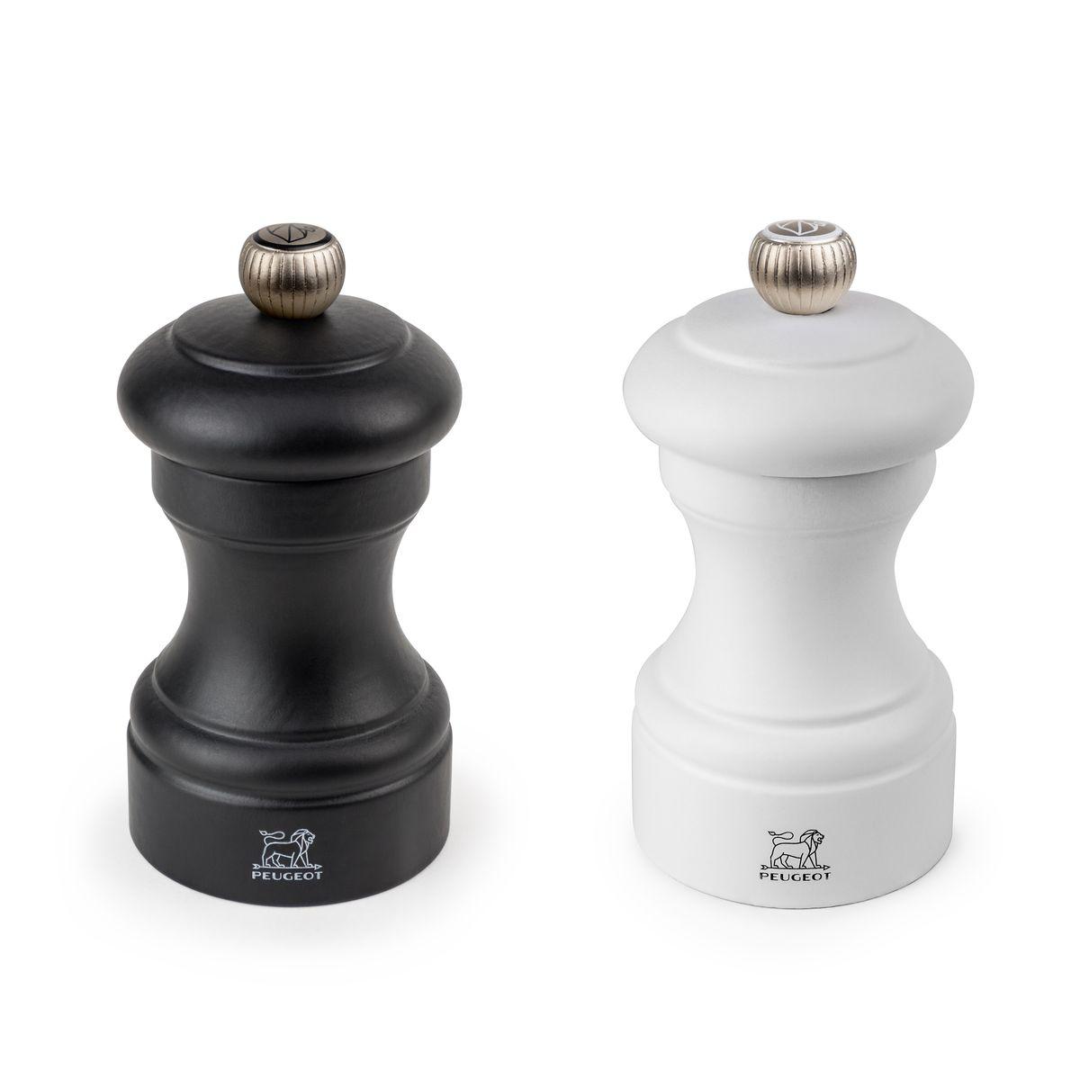 Duo moulins de sel et poivre Bistro noir et blanc 10 cm - Peugeot