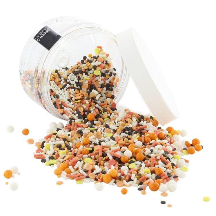 Décor à parsemer : confettis et perles oranges, noires et blancs Halloween 80gr