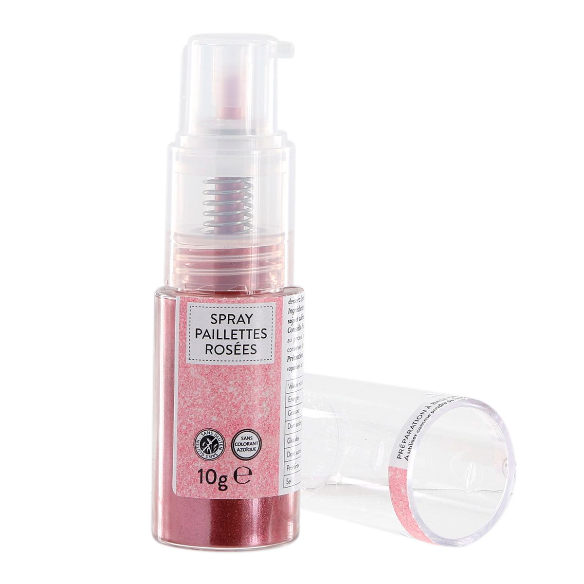 Spray paillettes alimentaires or rose 10 gr