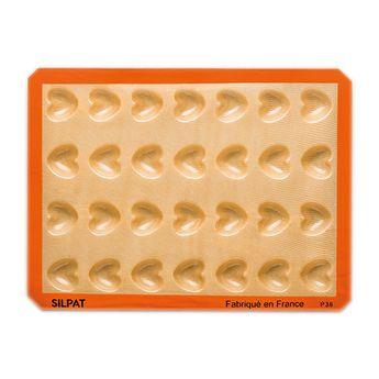 Achat en ligne Moule 28 mini coeurs en silicone et fibre de verre 40 x 30 cm - Silpat