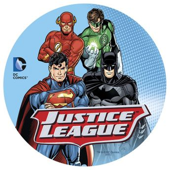 DISQUE EN SUCRE JUSTICE LEAGUE - 16CM - DEKORA