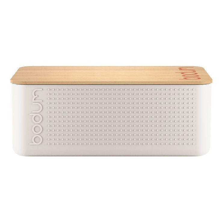 Boite à pain blanche avec couvercle planche en bambou 14 x 24 x 37 cm - Bodum