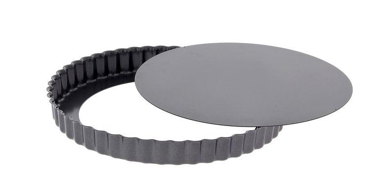 Moule à tarte rond cannelé amovible acier revêtu 28cm - De Buyer